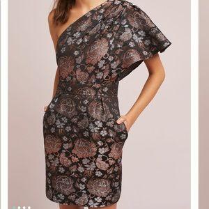 Rose one-shoulder dress